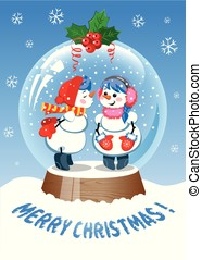 Merry Christmas. Cute Christmas Snow Globe with two snowman inside