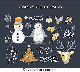 Merry Christmas cute decoration elements retro set