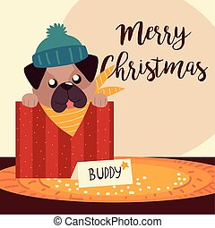 merry christmas cute dog in box greeting card