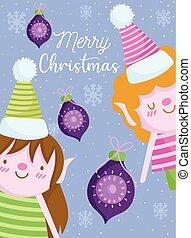 merry christmas, cute helpers with balls greeting card cartoon