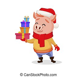 Merry Christmas. Cute pig wearing Santa Claus hat