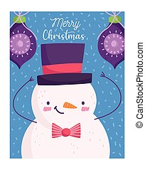 merry christmas, cute snowman with balls decoration card cartoon