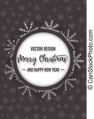 Merry christmas dark color flyer with snowflake, vector