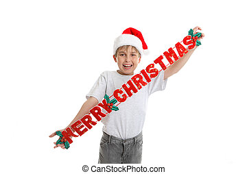 Merry Christmas Decoration - A child holding a fabric...
