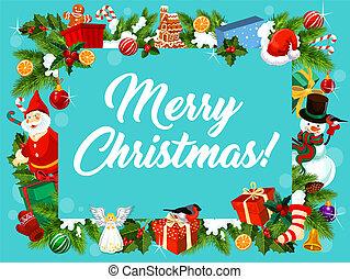 Merry christmas decoration wreath vector card - Merry...
