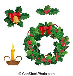 Merry Christmas decorations, holly berry, decor