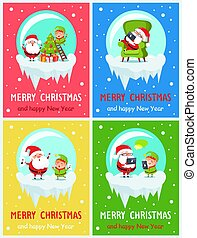 Merry Christmas Decorations Vector Illustration