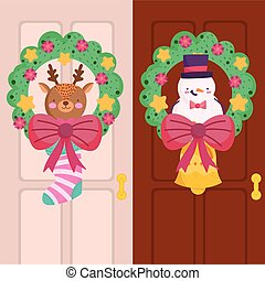merry christmas, decorative wreath with reindeer and snowman in doors