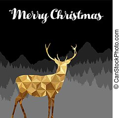 Merry christmas deer silhouette gold low poly card