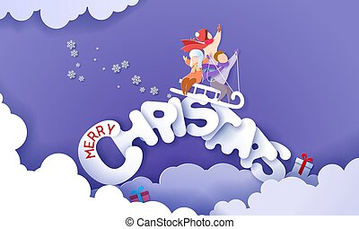 Merry Christmas design card with children sledding