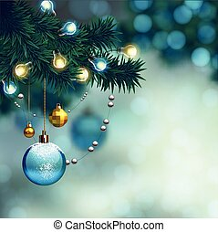 Merry Christmas design - blurred Christmas background with...