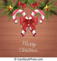 Merry christmas design of candy sticks and ornaments over wooden background