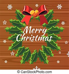 Merry Christmas. Design template with Wreath.
