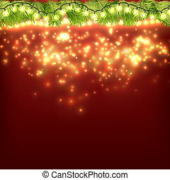 Merry Christmas Design with Lights and Garlands