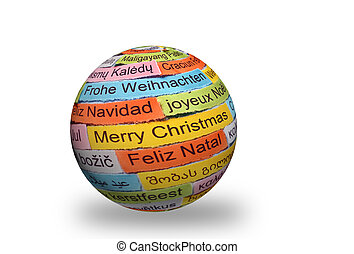 Merry Christmas different languages on 3d sphere