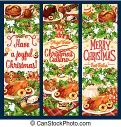 Merry Christmas dinner vector greeting banners