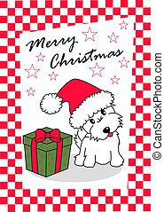 merry christmas card with a cute westie dog