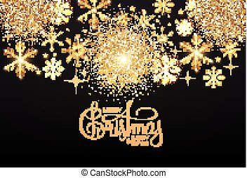 Merry Christmas Elegant holiday design with lettering and gold shining snowflakes.