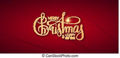 Merry Christmas Elegant lettering on red background.