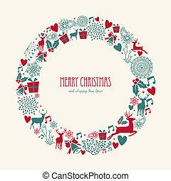 Merry Christmas elements decoration circle shape.