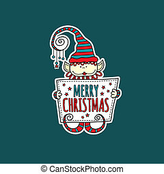 Merry Christmas Elf Holding Sign Green Background