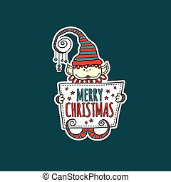 Merry Christmas Elf Holding Sign Vector Green Background