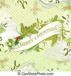 Merry Christmas - Vintage Christmas Scrapbooking Greeting...