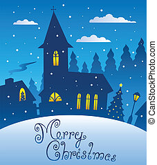 Merry Christmas evening scene 1 - vector illustration.