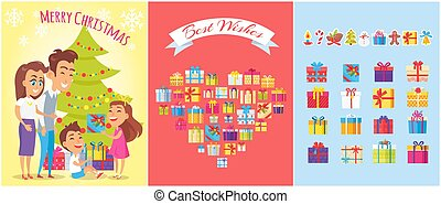 Merry Christmas, Family Gifts Vector Illustration
