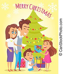 Merry Christmas Family Holiday Vector Illustration