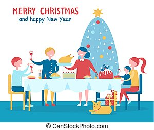 Merry Christmas Familys Dinner Vector Illustration