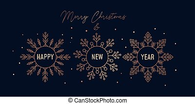 Merry Christmas festive greeting card with snowflakes
