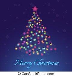 Merry Christmas fir- tree with light bulbs