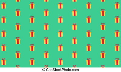 Merry Christmas flat design animation background with presents. Loop animation