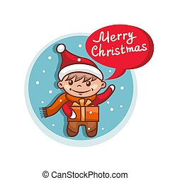 Merry Christmas flat icon with Santa Claus helper