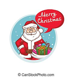 Merry Christmas flat icon with Santa Claus