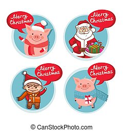 Merry Christmas flat icons set with funny Pig Santa Claus