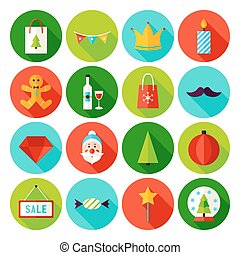 Merry Christmas Flat Icons