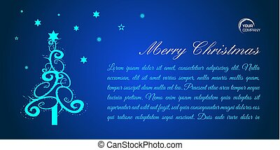 Merry christmas flat vector card with blue tree on blue background