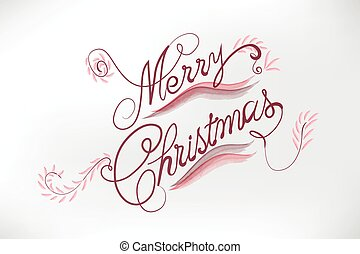 Merry Christmas floral card stylized words