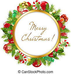 Merry Christmas Frame, Vector Illustration