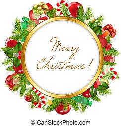 Merry Christmas Frame, Vector Illustration