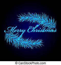 Merry Christmas frame with fir