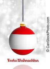 Merry Christmas from Austria. Christmas ball with flag