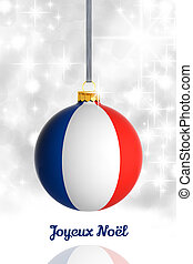 Merry Christmas from France. Christmas ball with flag