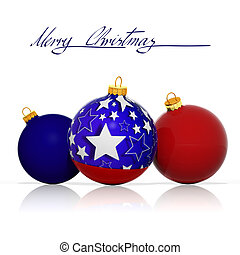 Merry Christmas from USA. Three Christmas balls with colors and elements from the flag