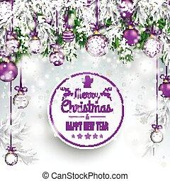 Merry Christmas Frozen Green Twigs Purple Baubles