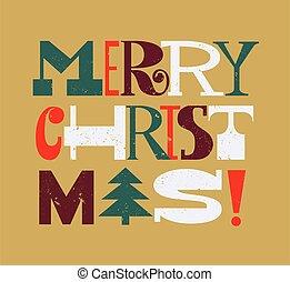 Merry Christmas fun fir tree childlike greeting card