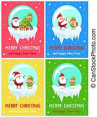Merry Christmas Funny Moments Vector Illustration