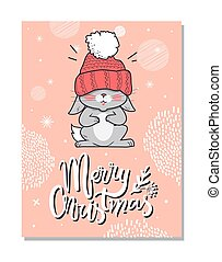 Merry Christmas Funny Postcard Vector illustration